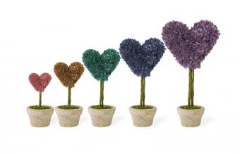 topiaries in different colors
