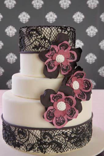 black lace with flower cake