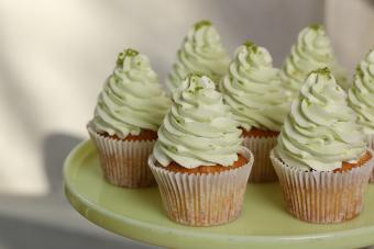 Green buttercream frosting cupcakes