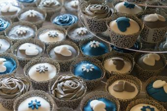 Blue and white decorated cupcakes