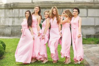 Beautiful bridesmaids in pink dresses