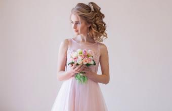 bride in a pink wedding dress