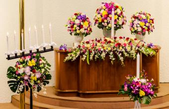 Flower decorations at wedding ceremony