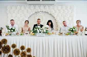 Wedding couple with best man and bridesmaid