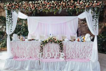 Romantic florals wedding party table