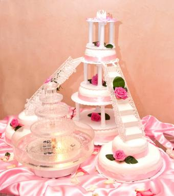roses, stairs, and fountain cake
