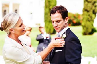 mother and son at garden wedding
