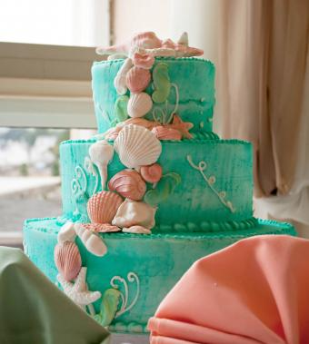 Blue beach themed wedding cake