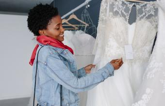 Woman in bridal boutique