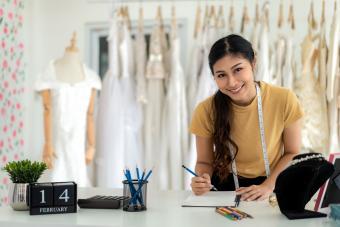 woman designing bridal veil