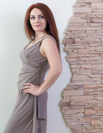 Woman in gray evening dress