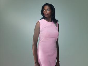 Mature woman wearing pink dress