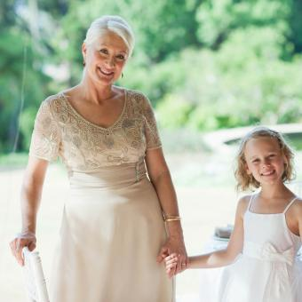Woman and child in wedding reception