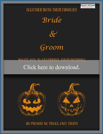 jack o'lantern chalkboard wedding invitation