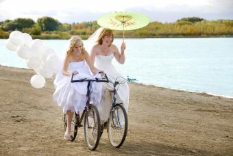 Two Brides on bikes
