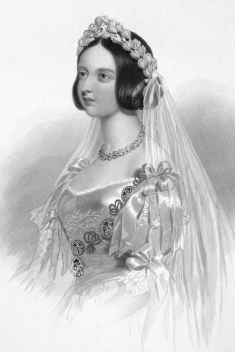Queen Victoria in White Wedding Dress