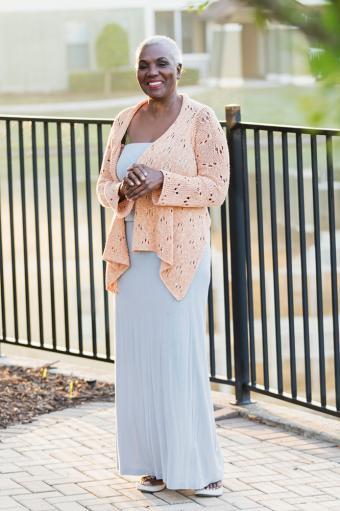 Neutral Dress With Lightweight Sweater