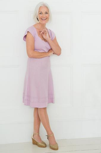 Blush dress with cap sleeves