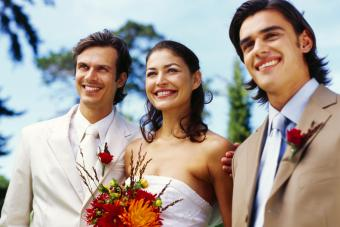 Couple standing with a best man