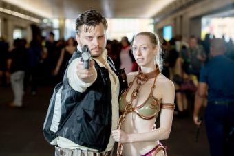 Fans cosplay as Han Solo and Princess Leia form Star Wars