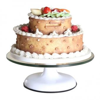 YJIUJIU Glass Revolving Round Cake Stand