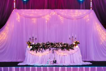 Wedding table in the restaurant with flower composition