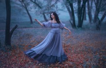 Blue-Gray Medieval Style Gothic Dress