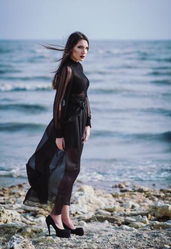 Sheer black Gothic wedding dress
