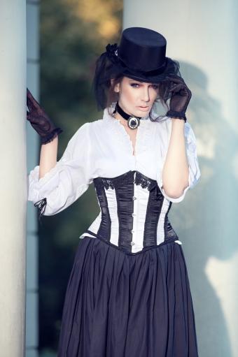 Woman wearing steampunk wedding dress
