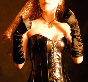 Leather corset Goth wedding dress