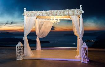 outdoor canopy with chandelier