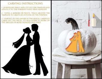 Bride and Groom Pumpkin Carving Template
