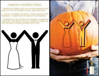 Template pumpkin bride and groom