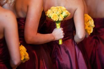 Bridesmaids with Yellow Bouquets Standing in Line