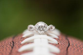 Diamond Engagement Ring on Football