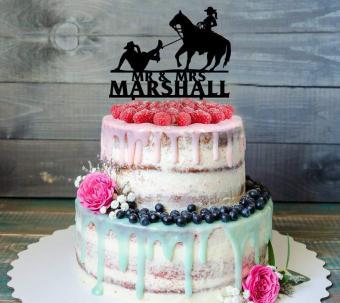 Western Wedding Wood Cake Topper