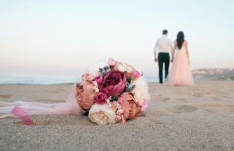Close-Up Of Bouquet On Sand