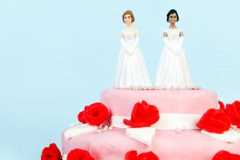 Pink wedding cake with red roses and lesbian couple on top on blue background
