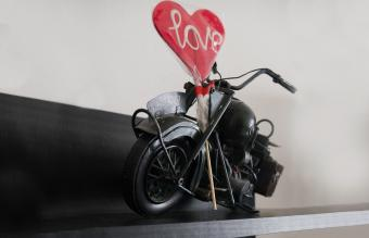 A toy motorcycle for a wedding favor