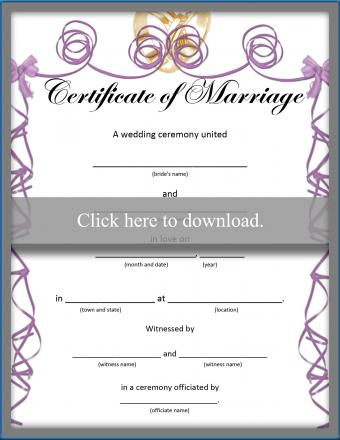 Certificate of Marriage printable