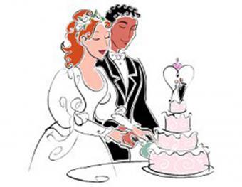 Inter-racial couple cake cutting clipart