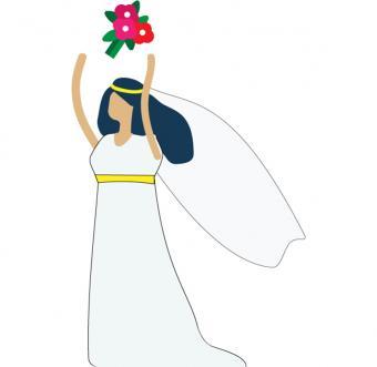 Brunette Caucasian bride