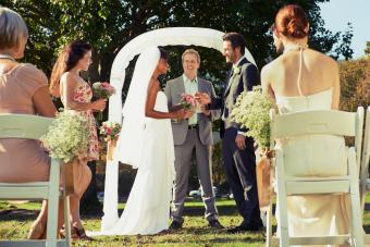 Couple exchanging wedding vows
