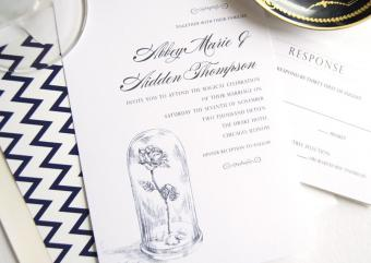 Fairytale Wedding, Beauty and the Beast Wedding Invitations Package
