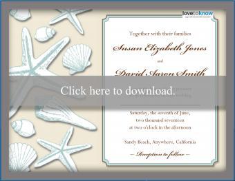 Beach Wedding Invitation Shells