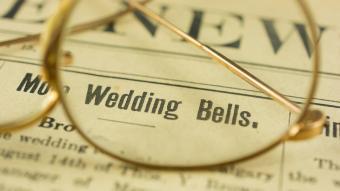 Wedding Bells announcement printed in 1912 newspaper