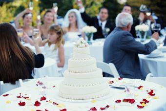 Guests raising toast at wedding reception