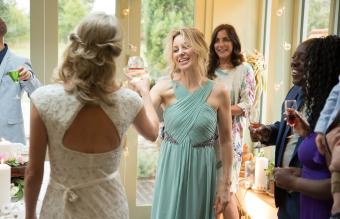 Wedding guests toasting to newlyweds