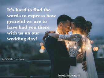 Married couple and a wedding thank you quote to family and friends