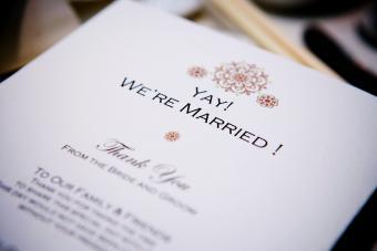 A wedding thank you card
